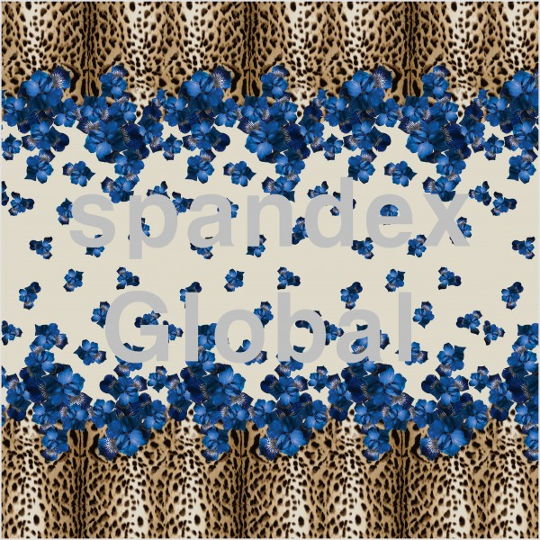Blue Flowers and Leopard Print