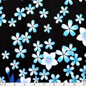Blue Cherry Blossom Print Spandex