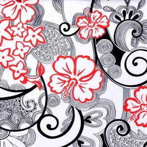 Hibiscus Floral Swirls Print Spandex