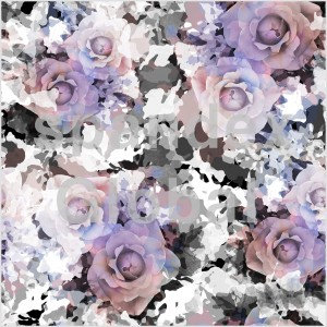 Purple Roses on Black and White Camouflage