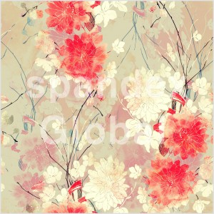 Red and White Flower Print