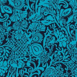 Teal Vintage Floral Print Spandex