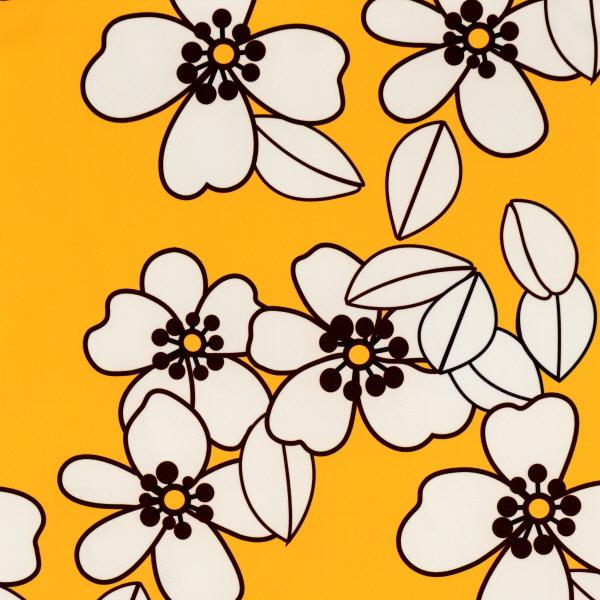White Camellia Flower Print Spandex