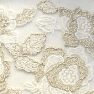Gold Rose Garden Embroidered Lace