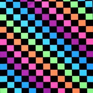 Multi Colored Checkerboard Print Spandex
