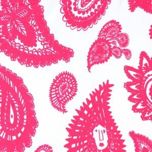 Pink Abstract Paisley Print Spandex