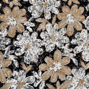 Daisy Flower Pattern Sequins Mesh
