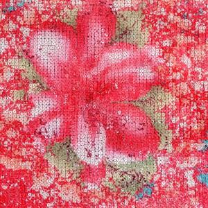 Floral Print Sequins Mesh